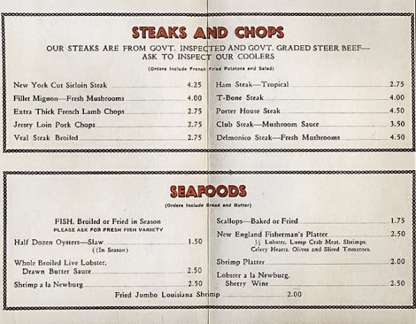 The menu was impressive and the prices much different than what they are today for the same selections.