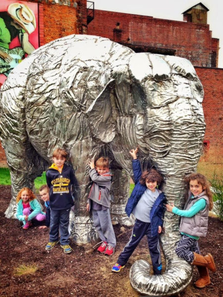 """Several of the children who visit the Children's Museum get the chance t visit with """"Bobo"""" at Heritage Port Park in downtown Wheeling."""