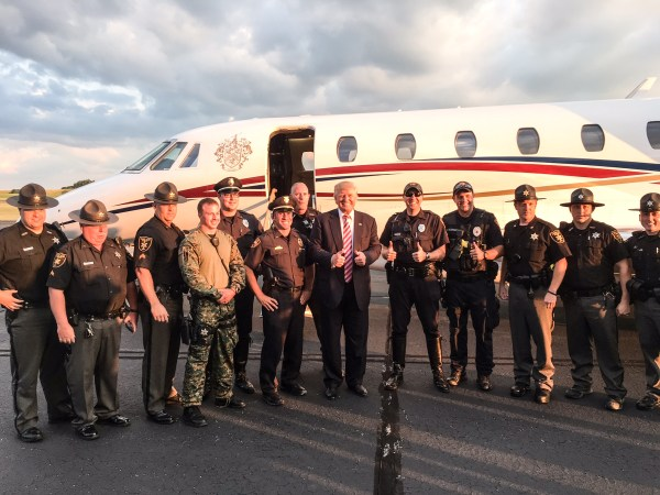 The presumptive GOP nominee landed at the Ohio County Airport at 3:50 p.m.