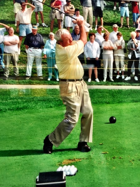 Arnold Palmer was known for his long drives and awkward style but a plethora of fans lined the fairways when Palmer played nine holes on Oglebay's newest course.