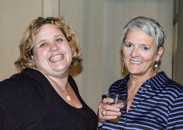 Local residents Susan Hagan and Susan Hogan were all smiles at the Wheeling Artisan Center.