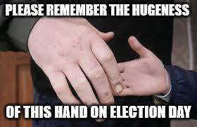 Bell does pay attention to national news and during the Republican primary process a joke made about a candidates hands prompted this illustration.