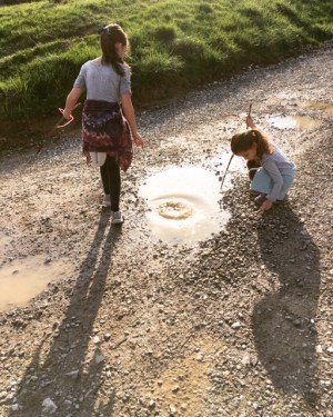 girls in puddle