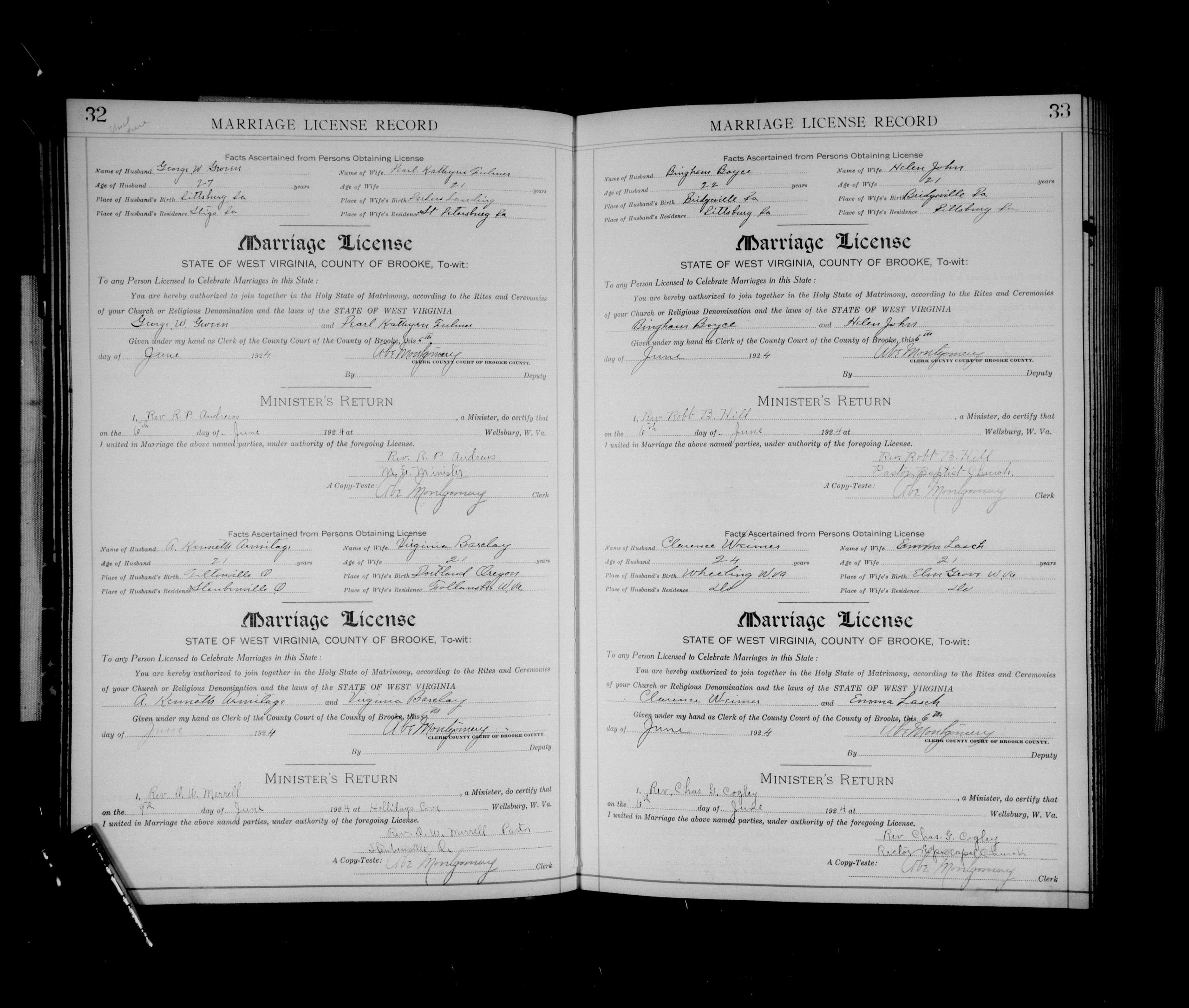 1924 Marriage Certificate