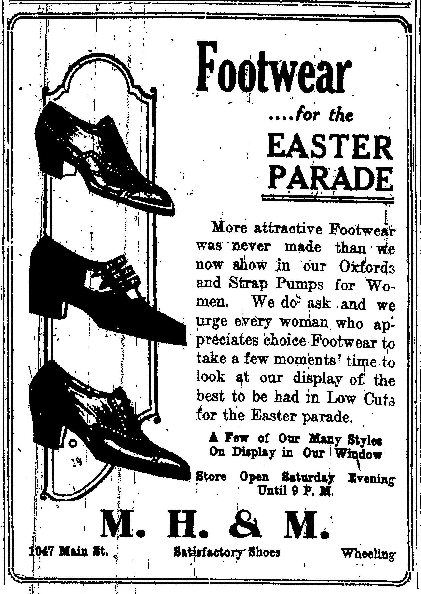 M.H. & M. Satisfactory Shoes - Wheeling Intelligencer, April 15, 1922