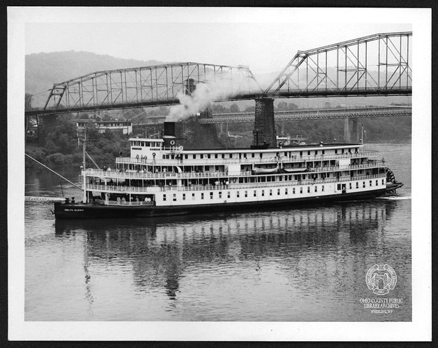 The steamer Delta Queen preparing to dock in Wheeling