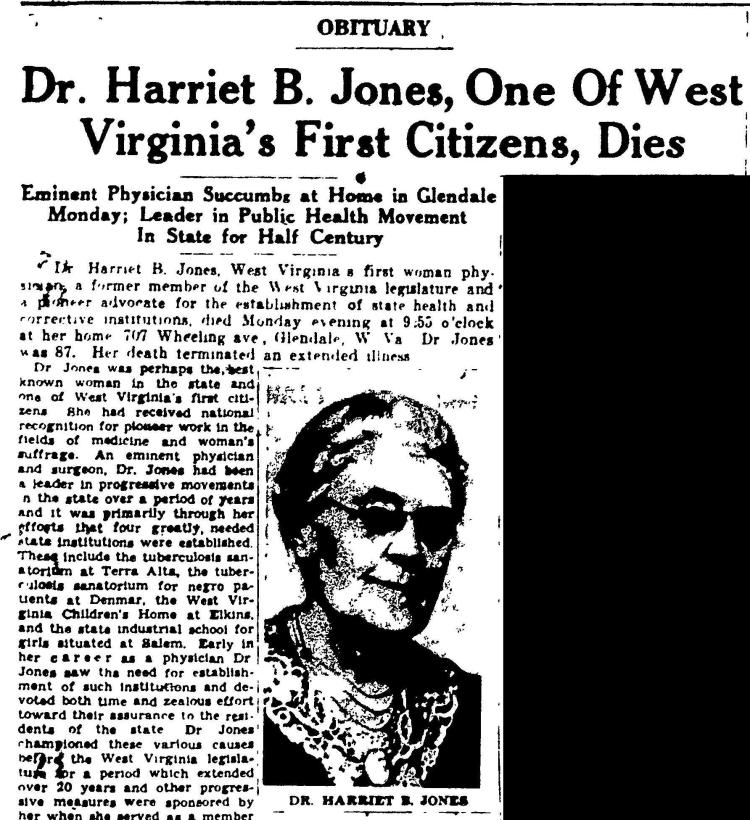 Obituary of Dr. Harriet B. Jones