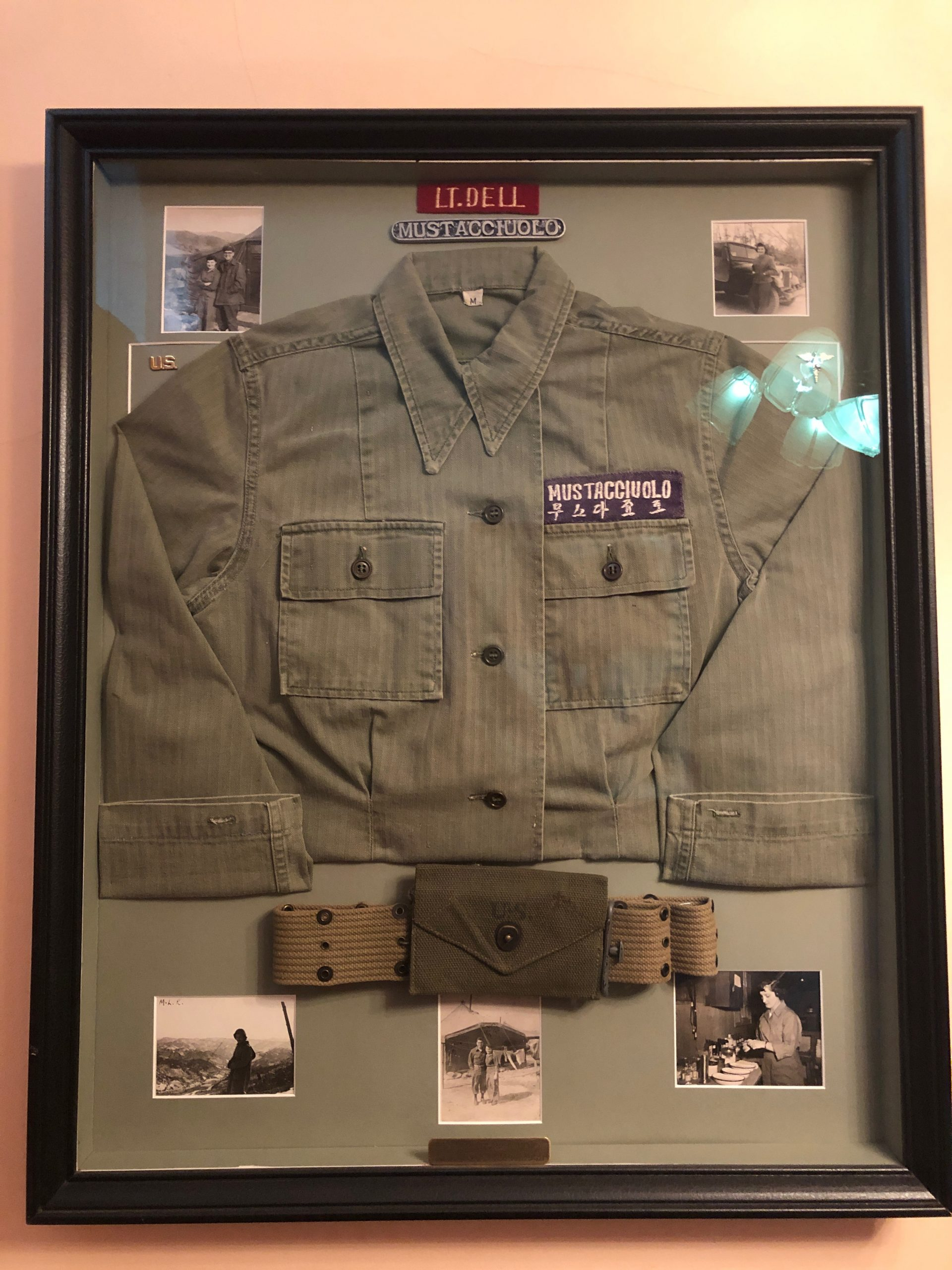 Della's military jacket and photos from her service during the Korean War
