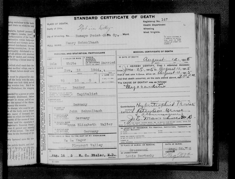 Henry Schmulbach Death Certificate