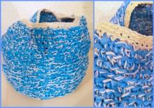 Mandje gemaakt van plastic zak en katoenen draad