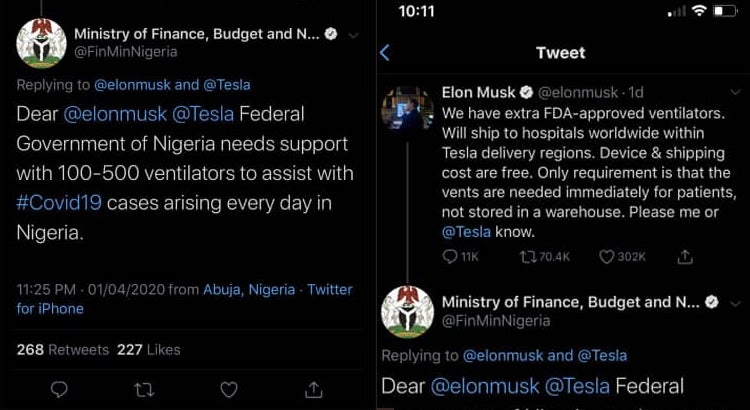 EXPOSED!! Nigerian Government Delete Tweets After Begging US Billionaire For Ventilators