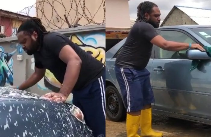 SO TOUCHING!! Watch Visually Impaired Singer, Cobhams Asuquo Washing His Car (Tell Him One Word)
