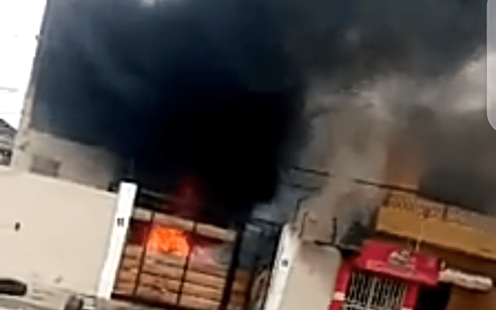 Video: Lagos State Governor Mother's House On Fire