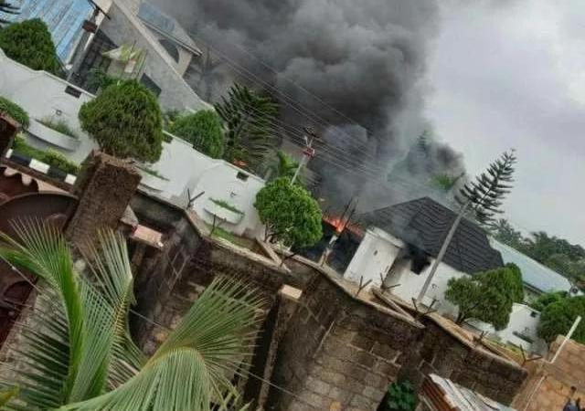BREAKING!! Governor Hope Uzodinma's House on Fire, Vehicles Burnt, One Fear Dead (Videos, Photos)