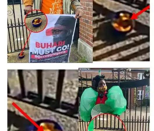 SCARY PHOTOS!! See The Juju That Was Spotted At The Entrance Of The Abuja House Where Buhari Stay In London [Photos]