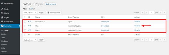 View WordPress form response details