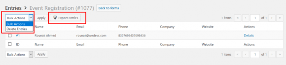 Export WordPress form entries with weForms