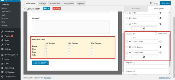 Add columns to checkbox field on WordPress form using weForms