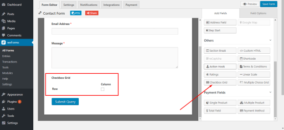 Editor view of checkbox field in WordPress form