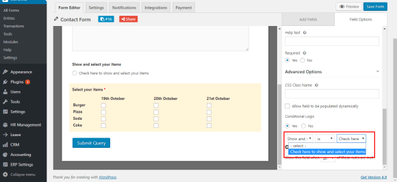 Enable conditional logic for checkbox field on WordPress form with weForms