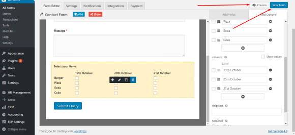 Preview WordPress form with checkboxes built using weForms