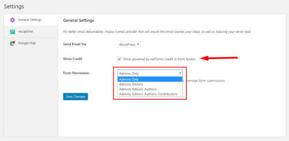 Manage WordPress form access permissions using weForms