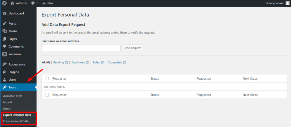 Export personal data and erase personal data requests on weForms