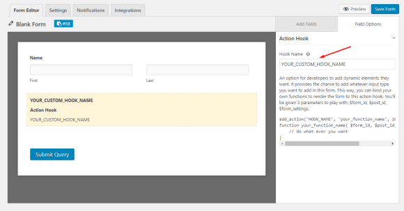 Action hook configuration on weForms