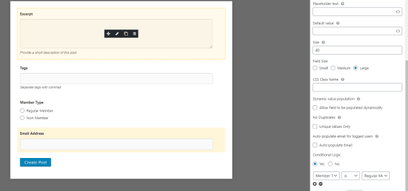 Shows conditional logic options for WordPress contact form
