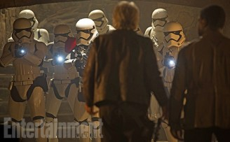 """This shot is from a bonus deleted scene that will be available only digitally. (But remember, each Blu-ray combo pack includes a free download, so you can get it that way.) When the First Order attacks the castle run by Lupita Nyong'o's Maz Kanata, Han, Finn, and Chewie face down this squad of stormtroopers in her basement. Han does his usual stellar job talking his way out of trouble. For those craving a little more of Solo's smart-ass swagger, this moment will make you say: """"I love you ..."""""""