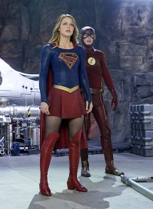 """""""Worlds Finest"""" -- Kara (Melissa Benoist, left) gains a new ally when the lightning-fast superhero The Flash (Grant Gustin, right) suddenly appears from an alternate universe and helps Kara battle Siobhan, aka Silver Banshee, and Livewire in exchange for her help in finding a way to return him home, on SUPERGIRL, Monday, March 28 (8:00-9:00 PM, ET/PT) on the CBS Television Network. Photo: Robert Voets/Warner Bros. Entertainment Inc. © 2016 WBEI. All rights reserved."""