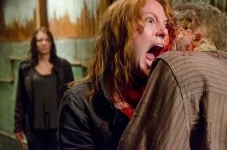 Lauren Cohan as Maggie Greene and Alicia Witt as Paula - The Walking Dead _ Season 6, Episode 13 - Photo Credit: Gene Page/AMC