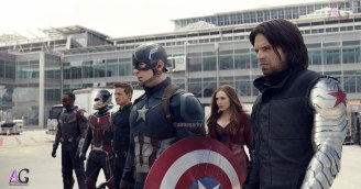 Marvel's Captain America: Civil War L to R: Falcon/Sam Wilson (Anthony Mackie), Ant-Man/Scott Lang (Paul Rudd), Hawkeye/Clint Barton (Jeremy Renner), Captain America/Steve Rogers (Chris Evans), Scarlet Witch/Wanda Maximoff (Elizabeth Olsen) and Winter Soldier/Bucky Barnes (Sebastian Stan) Photo Credit: Film Frame © Marvel 2016