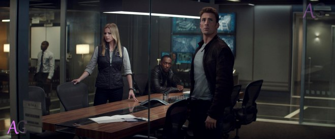 Marvel's Captain America: Civil War L to R: Agent 13/Sharon Carter (Emily VanCamp), Falcon/Sam Wilson (Anthony Mackie) and Steve Rogers/Captain America (Chris Evans) Photo Credit: Film Frame © Marvel 2016