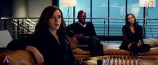 Marvel's Captain America: Civil War L to R: Black Widow/Natasha Romanoff (Scarlett Johansson), Vision (Paul Bettany) and Wanda Maximoff/Scarlet Witch (Elizabeth Olsen). Photo Credit: Film Frame © Marvel 2016