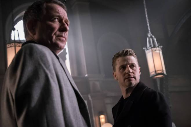 """GOTHAM: L-R: Sean Pertwee and Ben McKeznie in the """"Wrath of the Villains: Pinewood"""" episode of GOTHAM airing Monday, April, 18 (8:00-9:01 PM ET/PT) on FOX. ©2016 Fox Broadcasting Co. Cr: Jeff Neumann/FOX"""