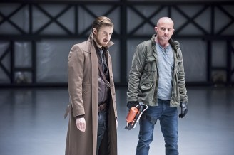"""DC's Legends of Tomorrow -- """"Last Refuge""""-- Image LGN112b_0290b.jpg -- Pictured (L-R): Arthur Darvill as Rip Hunter and Dominic Purcell as Mick Rory/Heat Wave -- Photo: Dean Buscher/The CW -- © 2016 The CW Network, LLC. All Rights Reserved."""