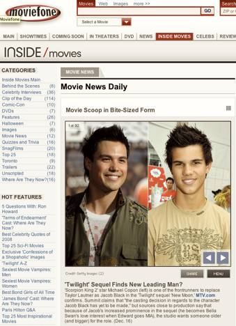 Hello & welcome to MOVIEFONE. Press 1 for Michael Copon!
