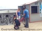 The helpful Miraflores bike hire team prep Nik's iron horse