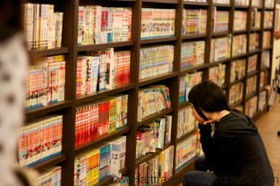 Shelves packed with Manga novels