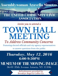 town hall meeting astoria flyer events party event
