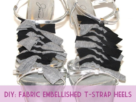FabricHeels1 How to: Jazz up your T Strap Heels with Fabric