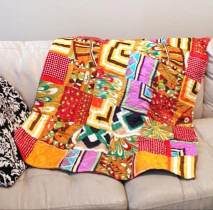 vintage silk scarf quilt