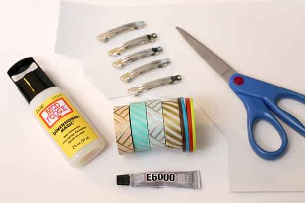 diywashitapebarrettes materials DIY: Washi Tape Barrettes