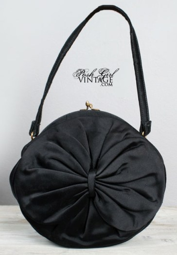 Vintage 1950s black satin handbag