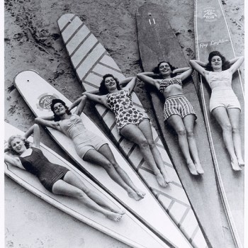 1940s surf girls in their swimsuits