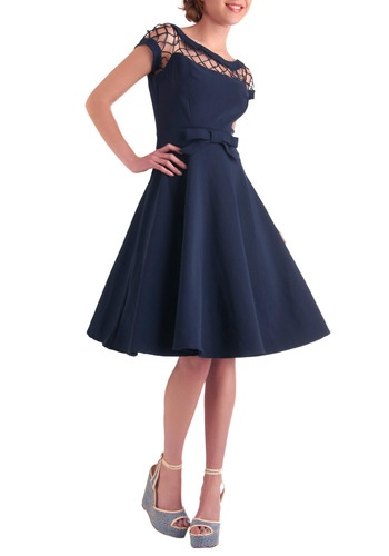 Blue 1950s style pin up dress