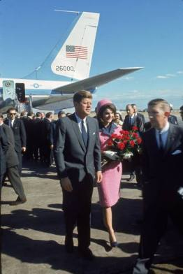 Jackie Kennedy wearing her iconic pink Chanel suit on the day of JFKs assassination