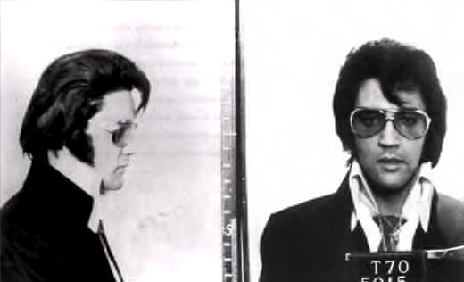 Mug shot of Elvis, 1970