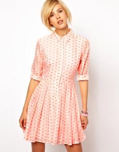 Shirt Dress In Fluoro Jacquard Spot by ASOS